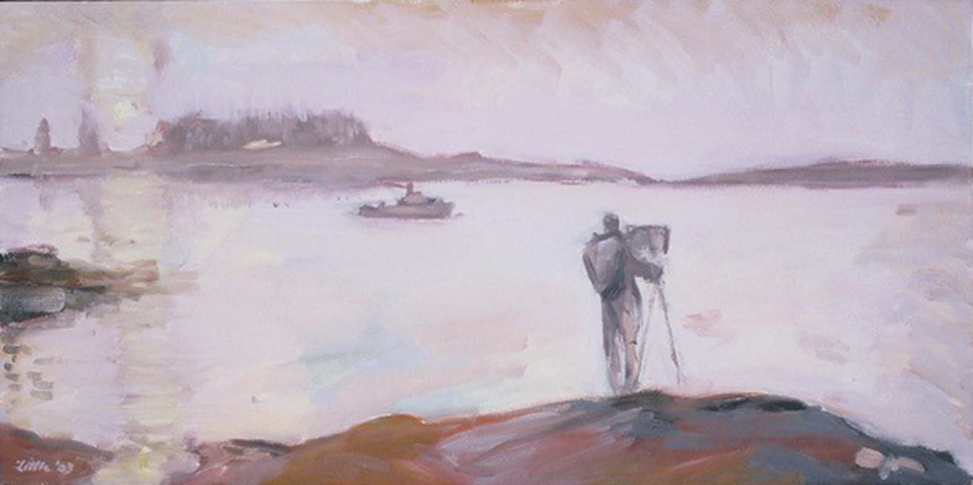 """David Little, """"Artist setting up easel in fog"""", Oil on canvas, 8 x 16 inches, 2010"""