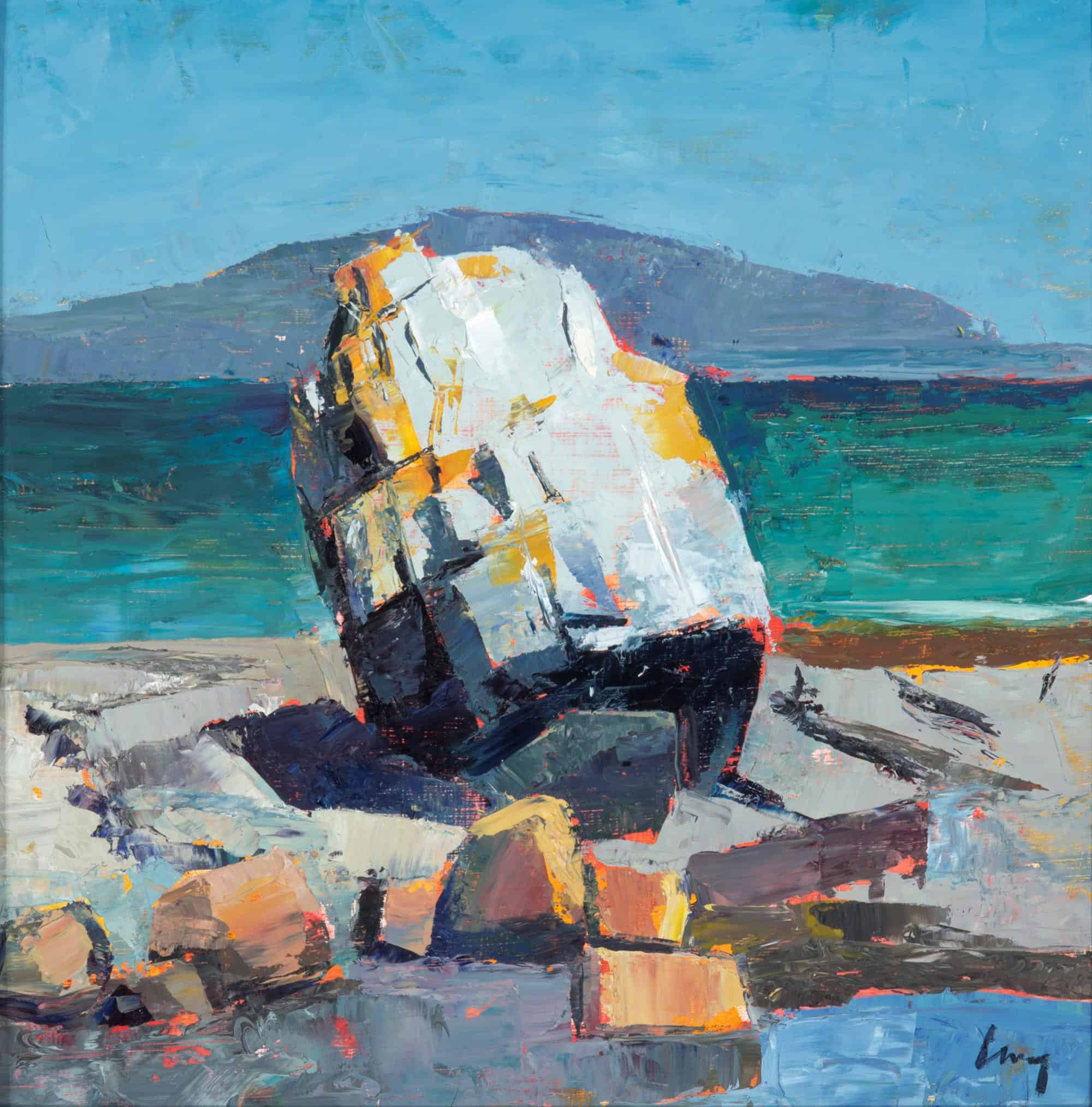 Tom Curry, Glacial Erratic, 2014, oil on birch panel, 12 x 12 inches