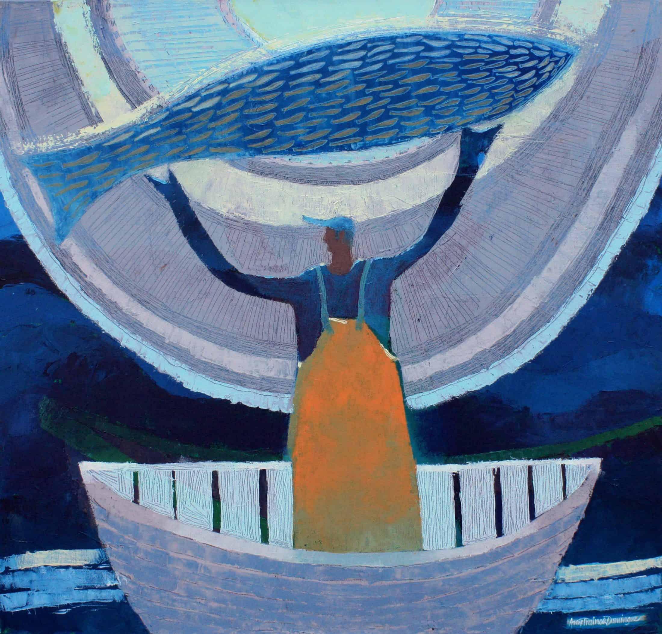 Ann (Mason) Trainor Domingue, Braving the Elements, 2019, acrylic on canvas, 24 x 24 inches