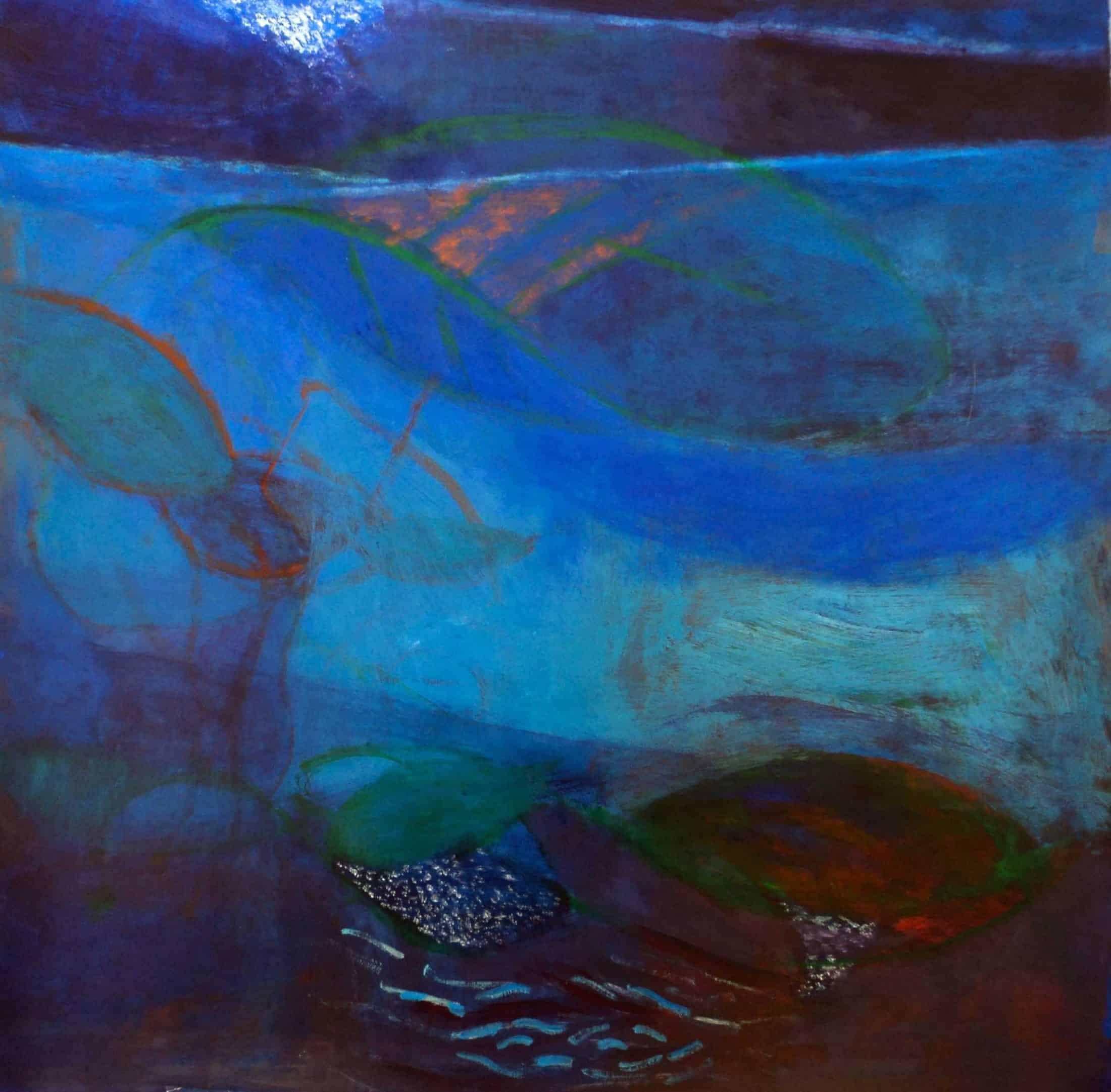 Heidi Daub, Hum of the Sea, 2014, acrylic on paper, 21 ½ x 21 ½ inches