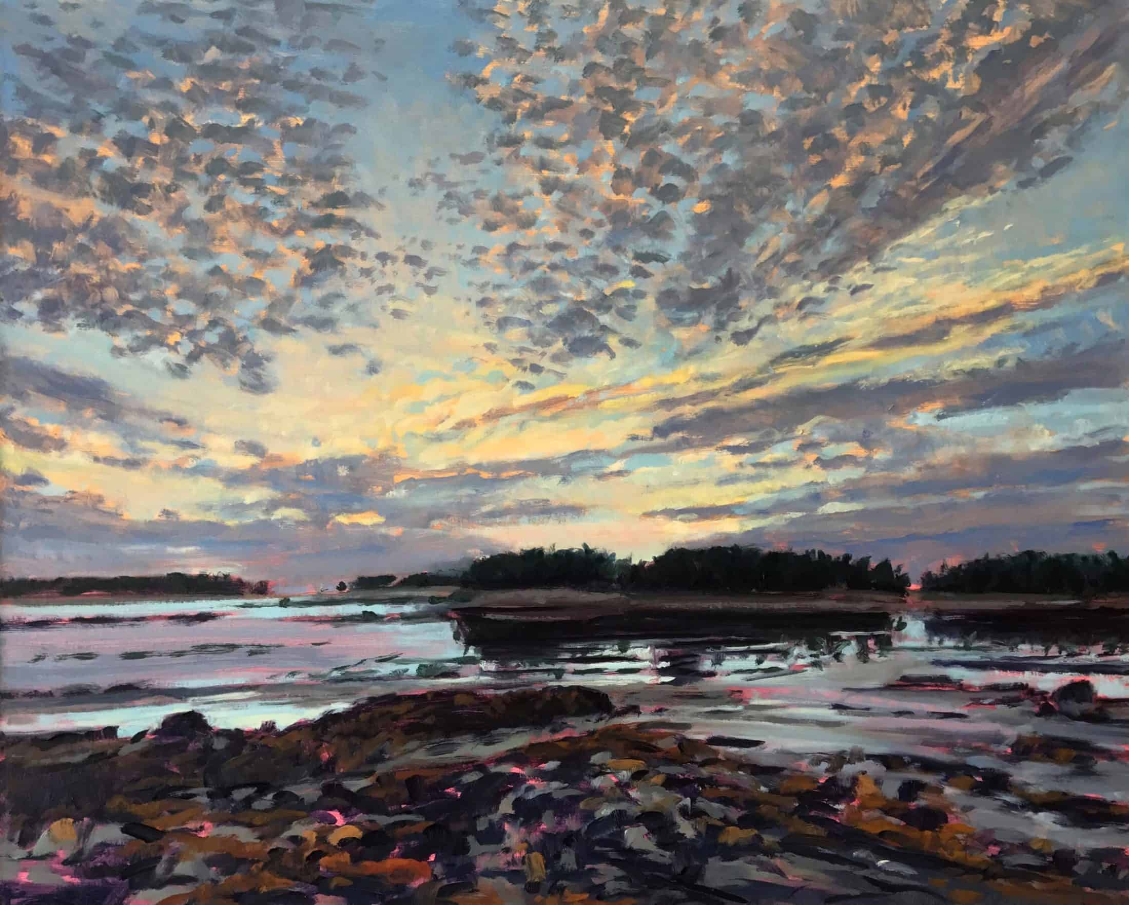 Nina Jerome, Twilight Across the Pool, 2016, oil on linen, 24 x 30 inches