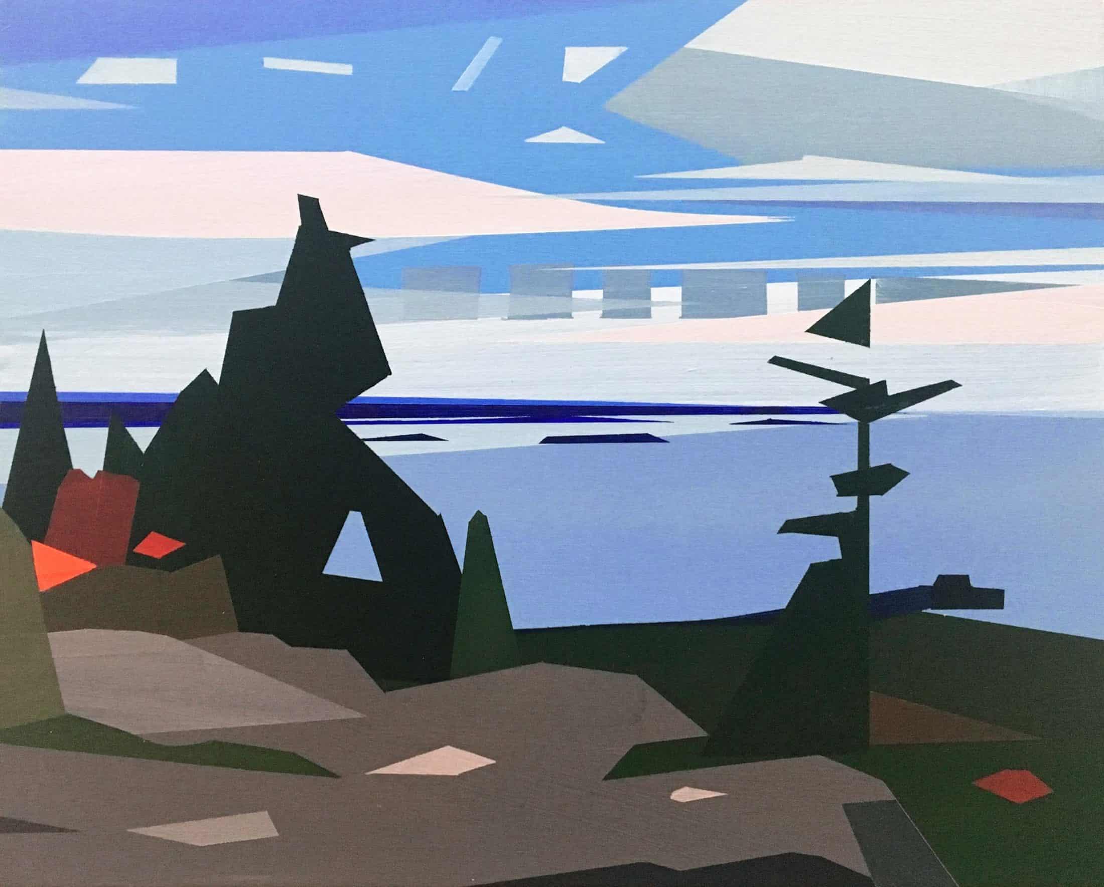 Greta Van Campen, Shapes, Autumn Hike, 2018, acrylic on panel, 8 x 10 inches
