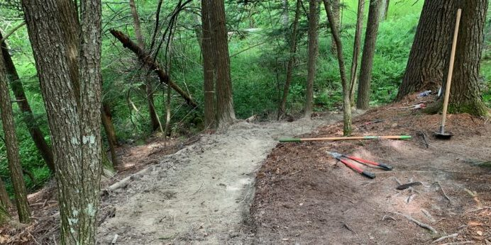 A project in progress! Devon worked to complete a bench project at Mill Brook Preserve in Westbrook.