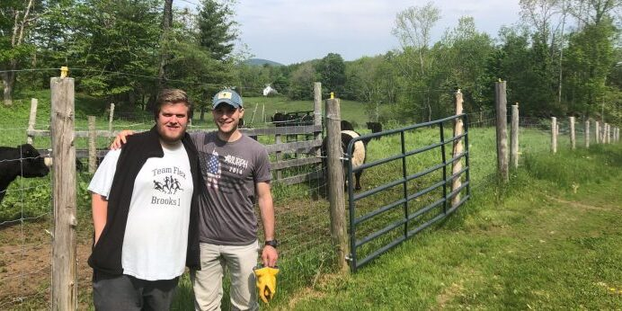 Brothers Michael (left) and Matthew (right) Heath participated in the first session of Big Farm Hands for adult volunteers.